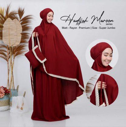 mukena polos jumbo hadijah maroon
