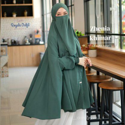 Hijab Khimar Terbaru Zhenia - dark green