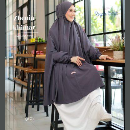 Hijab Khimar Terbaru Zhenia - grey