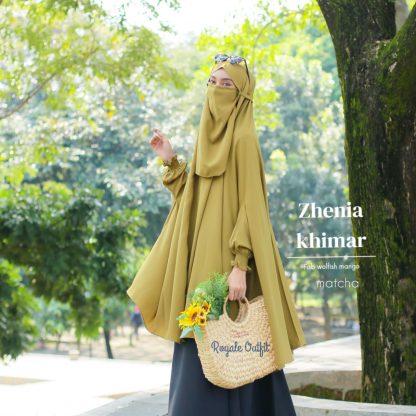 Hijab Khimar Terbaru Zhenia - matcha