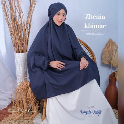 Hijab Khimar Terbaru Zhenia - navy