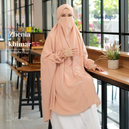 Hijab Khimar Terbaru Zhenia - soft milo