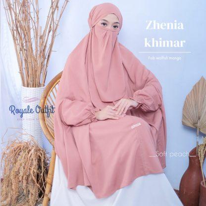 Hijab Khimar Terbaru Zhenia - soft peach